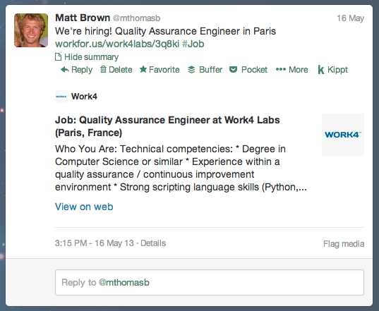Twitter cards for recruiting make it easy to view jobs on Twitter