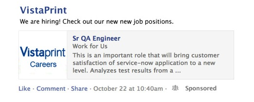 Improve your Facebook job postings with sponsored stories