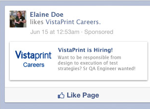 Sponsored stories give you Facebook Hiring ads that appears based on users interests